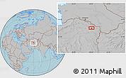 Gray Location Map of Mashhad, hill shading