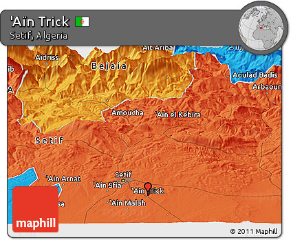 Free Political Panoramic Map of 'Aïn Trick on