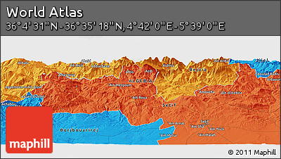 """Political Panoramic Map of the Area around 36°19'55""""N,5°10'30""""E"""