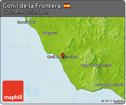 Free Physical Map of Conil De La Frontera