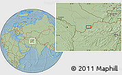 """Savanna Style Location Map of the area around 36°19'55""""N,63°49'30""""E, hill shading"""