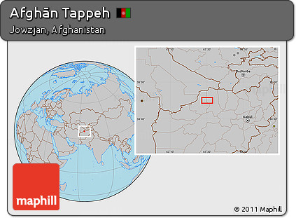 Gray Location Map of Afghān Tappeh