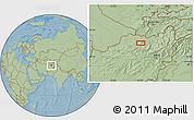 Savanna Style Location Map of Aqchah (2), hill shading