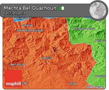 Political 3D Map of Mechta Bel Ouachoun