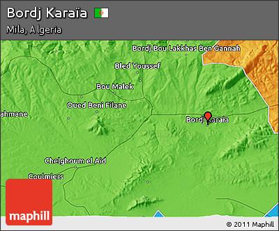 Political 3D Map of Bordj Karaïa
