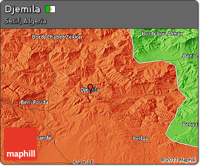 Political 3D Map of Djemila