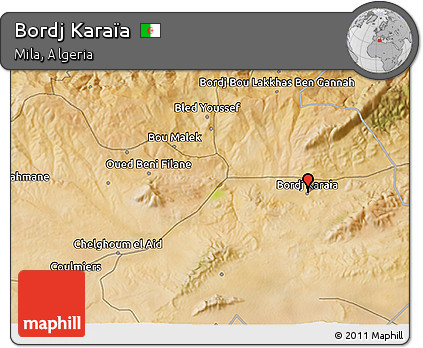 Satellite 3D Map of Bordj Karaïa