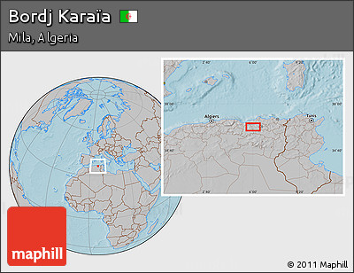 Gray Location Map of Bordj Karaïa, hill shading