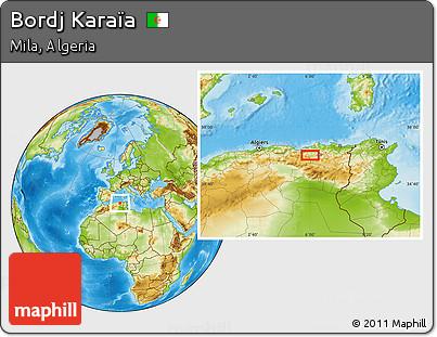 Physical Location Map of Bordj Karaïa