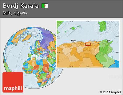 Political Location Map of Bordj Karaïa