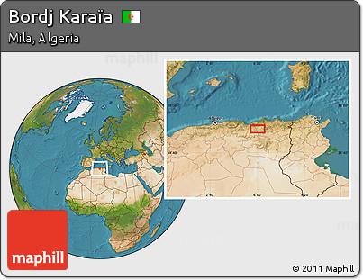 Satellite Location Map of Bordj Karaïa