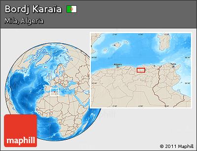 Shaded Relief Location Map of Bordj Karaïa
