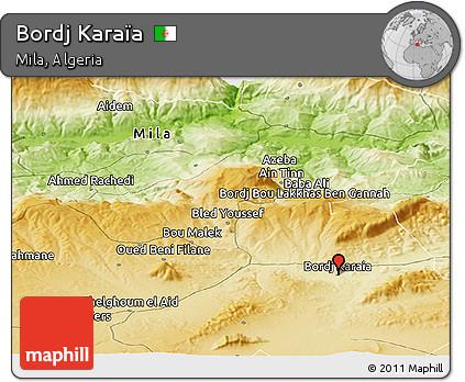 Physical Panoramic Map of Bordj Karaïa