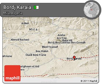 Shaded Relief Panoramic Map of Bordj Karaïa