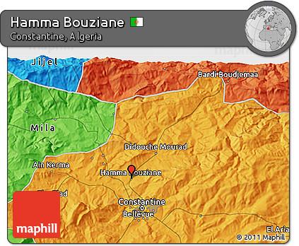 Political 3D Map of Hamma Bouziane