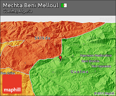 Political 3D Map of Mechta Beni Melloul