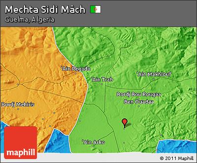 Political 3D Map of Mechta Sidi Mâch