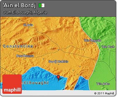 Political 3D Map of 'Aïn El Bordj