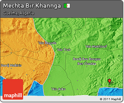 Political 3D Map of Mechta Bir Khannga