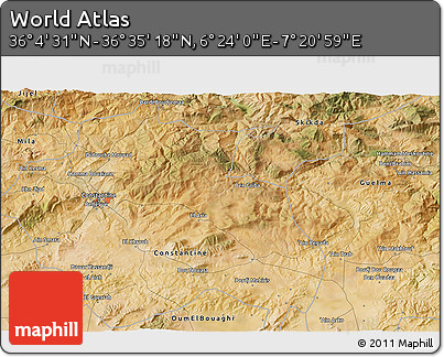 """Satellite 3D Map of the Area around 36°19'55""""N,6°52'30""""E"""