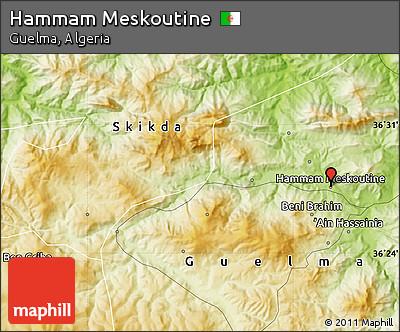 Physical Map of Hammam Meskoutine