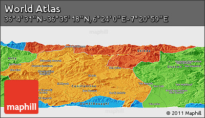 """Political Panoramic Map of the Area around 36°19'55""""N,6°52'30""""E"""
