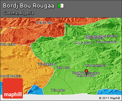 Political Panoramic Map of Bordj Bou Rougaa