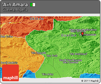 Political Panoramic Map of 'Aïn Amara