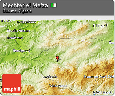 Physical 3D Map of Mechtet El Ma'za