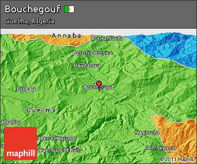 Political 3D Map of Bouchegouf