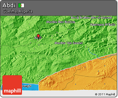 Political 3D Map of Abdi