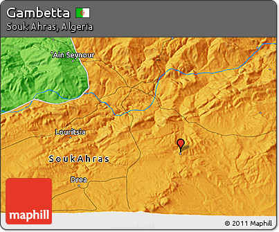 Political 3D Map of Gambetta