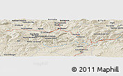 "Shaded Relief Panoramic Map of the area around 36° 19' 55"" N, 7° 43' 29"" E"