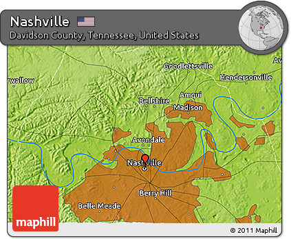 Free Physical 3D Map of Nashville on