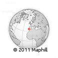 """Outline Map of the Area around 36° 47' 25"""" N, 10° 7' 30"""" W, rectangular outline"""