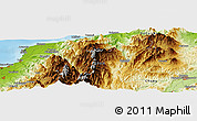 """Physical Panoramic Map of the area around 36°47'25""""N,137°46'30""""E"""