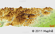 "Physical Panoramic Map of the area around 36° 47' 25"" N, 139° 28' 29"" E"