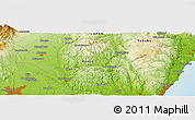 """Physical Panoramic Map of the area around 36°47'25""""N,140°19'29""""E"""