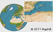 Satellite Location Map of Bel Lezhar