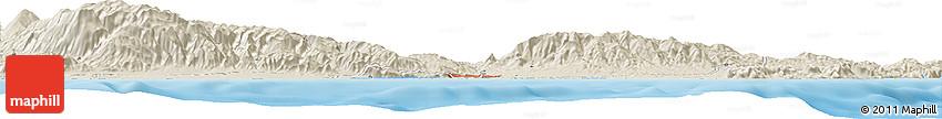 Shaded Relief Horizon Map of Roquetas De Mar