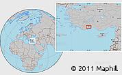 Gray Location Map of Antalya
