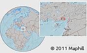 Gray Location Map of Seyhan, hill shading