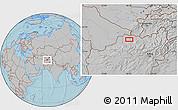 Gray Location Map of Āsīā-ye Moḩammad Ebrāhīm Khān, hill shading