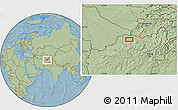 Savanna Style Location Map of Āsīā-ye Moḩammad Ebrāhīm Khān, hill shading