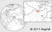 Blank Location Map of Akhūndzādeh