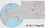 Gray Location Map of Akhūndzādeh