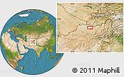 Satellite Location Map of Akhūndzādeh