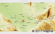 """Physical 3D Map of the area around 36°47'25""""N,68°55'30""""E"""