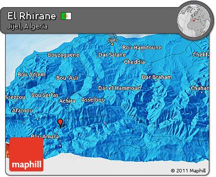 Political 3D Map of El Rhirane