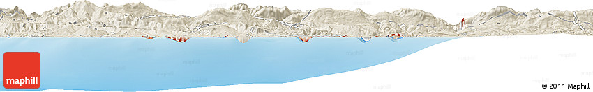 """Shaded Relief Horizon Map of the Area around 36° 47' 25"""" N, 6° 1' 30"""" E"""